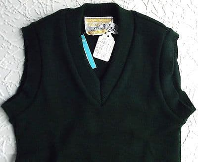 Vintage school uniform Boys sleeveless jumper Bottle green 1970s UNUSED slipover
